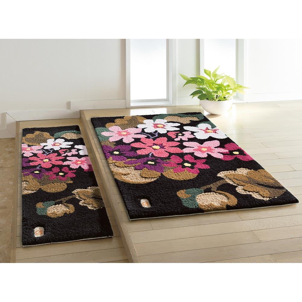 ミラショーン玄関マット/ラグ アジサイ  (イ)ピンク系 上がりかまちに ※写真は約32×120cmタイプ、約70×120cmタイプです。