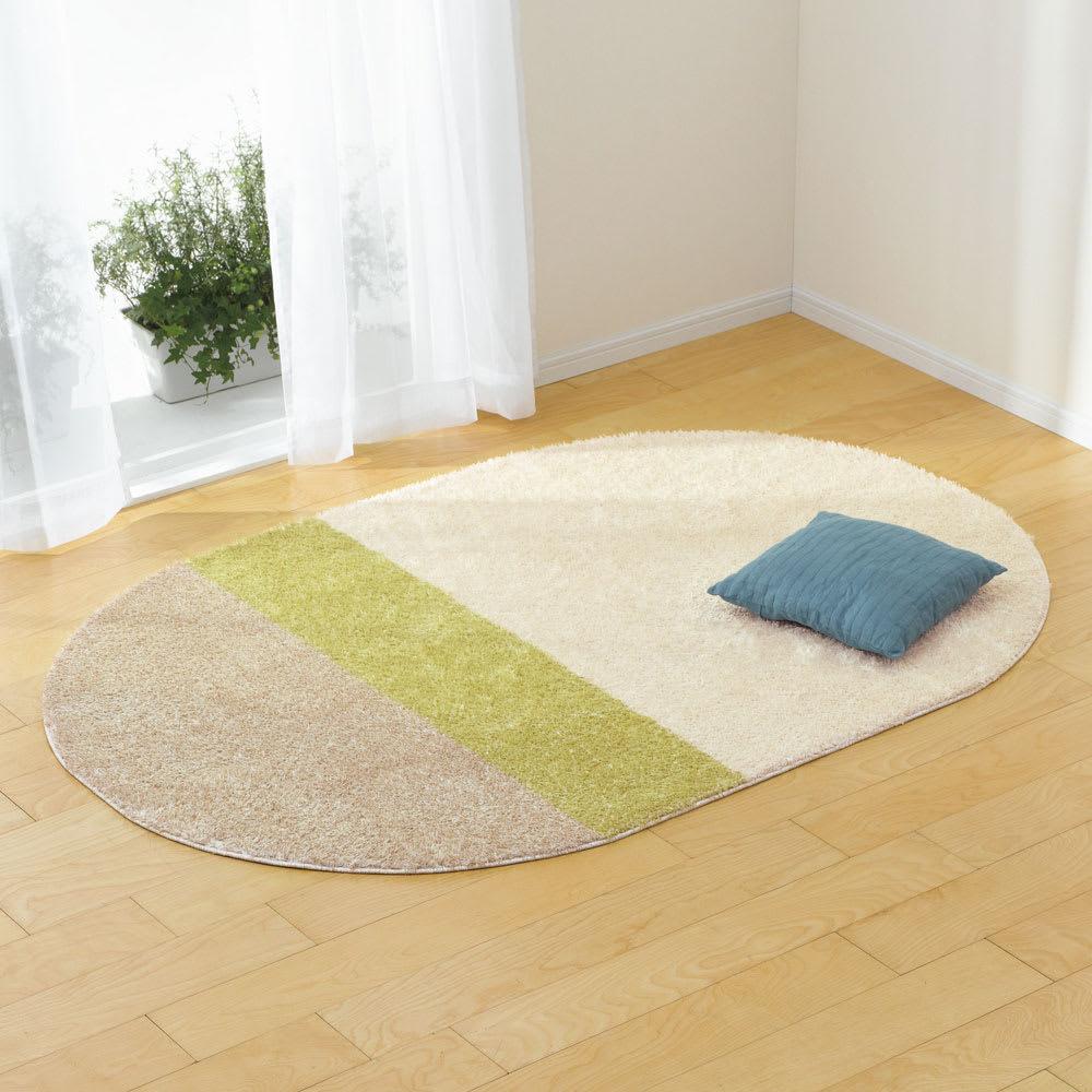 円形・径約190cm 防ダニ洗えるラグ (ウ)ボーダーグリーン(オーバル)