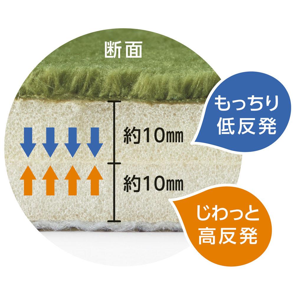 低反発高反発フランネルラグ(カーペット) ナチュラルカラー 上層部は低反発、下層部は高反発ウレタン使用