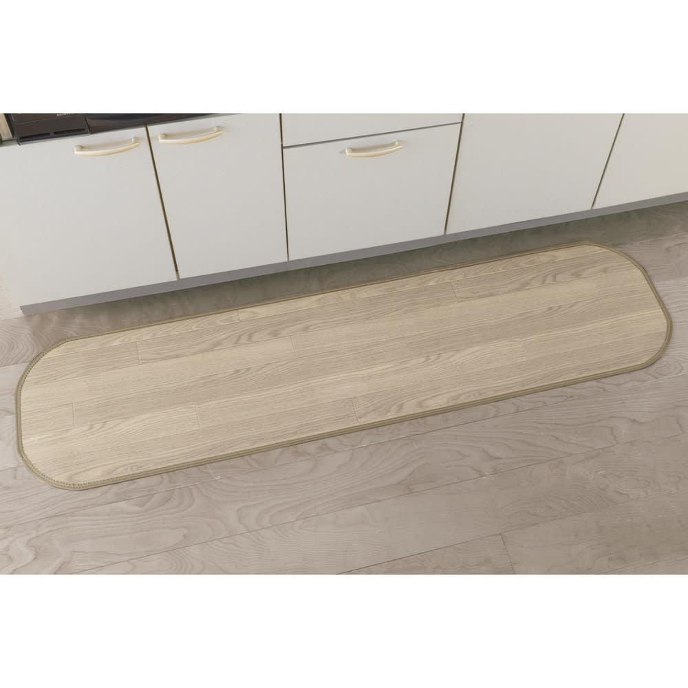 消臭加工フローリング調キッチンマット 幅45cm・幅60cm (オ)アッシュグレイ