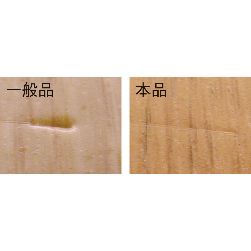 消臭加工フローリング調 廊下敷き 幅約90cm 一般住宅用と比較して、本品は表層が厚いため、傷がつきにくいことが分かります。 [試験方法・条件]120gの重りをつけた角の尖った鋭利な鉄板を、角度60度に取り付けた試験片の上に落下させる。高さを変えて傷の付き具合を比較する。