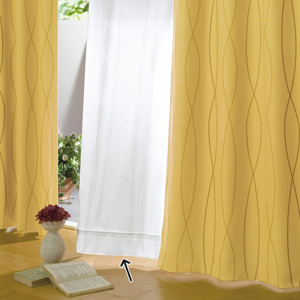 形状記憶加工多サイズ・防炎・UV対策レースカーテン 150cm幅(2枚組) コーディネート例(ウ)ウェーブホワイト 縦ラインにしなやかに流れるウェーブ柄が空間に広がりを。