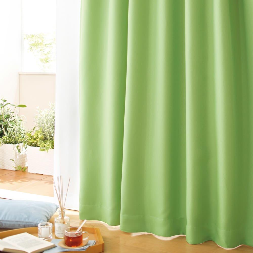 防音・1級遮光・遮熱カーテン(2枚組)幅100cm (オ)グリーン