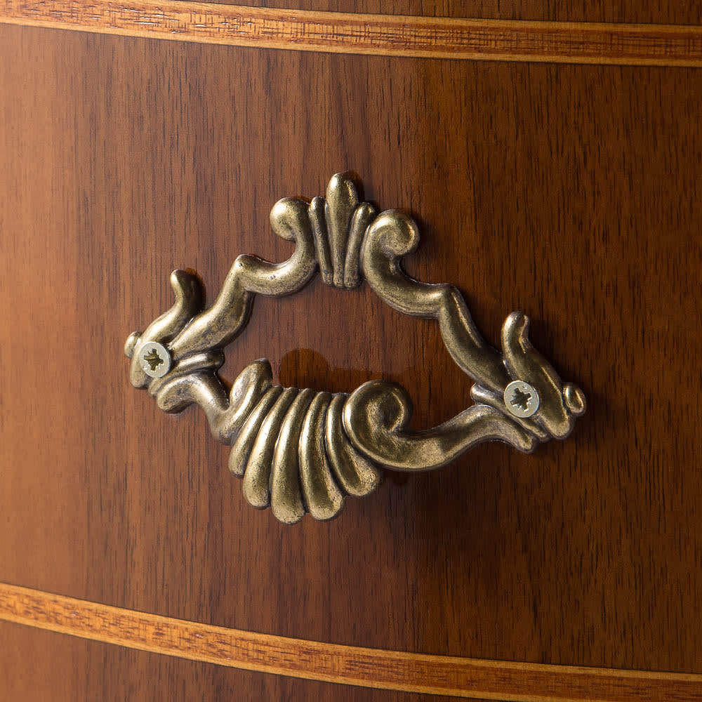 イタリア製象がんシリーズ 2段テレビ台チェスト・幅75cm 貝がらをモチーフにした格調高い取っ手。