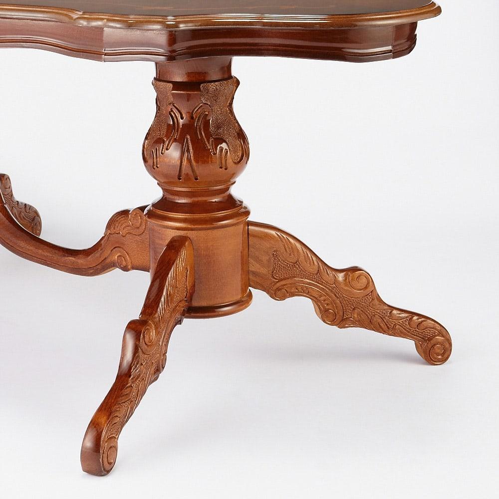 イタリアンリビングシリーズ 象がんリビングテーブル しっかりとした作りでデザインにもこだわりのある脚部。