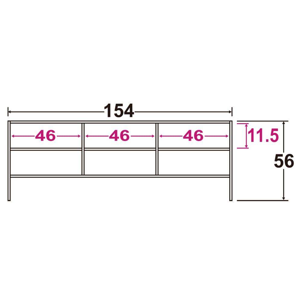 アンティーククラシックシリーズ アンティーク風テレビ台 幅154cm 寸法図(単位:cm) ※赤文字は内寸、黒文字は外寸表示です。 各々のデッキ収納部にはコード穴あり。幅10cm×高さ5cm 収納部奥行34cm