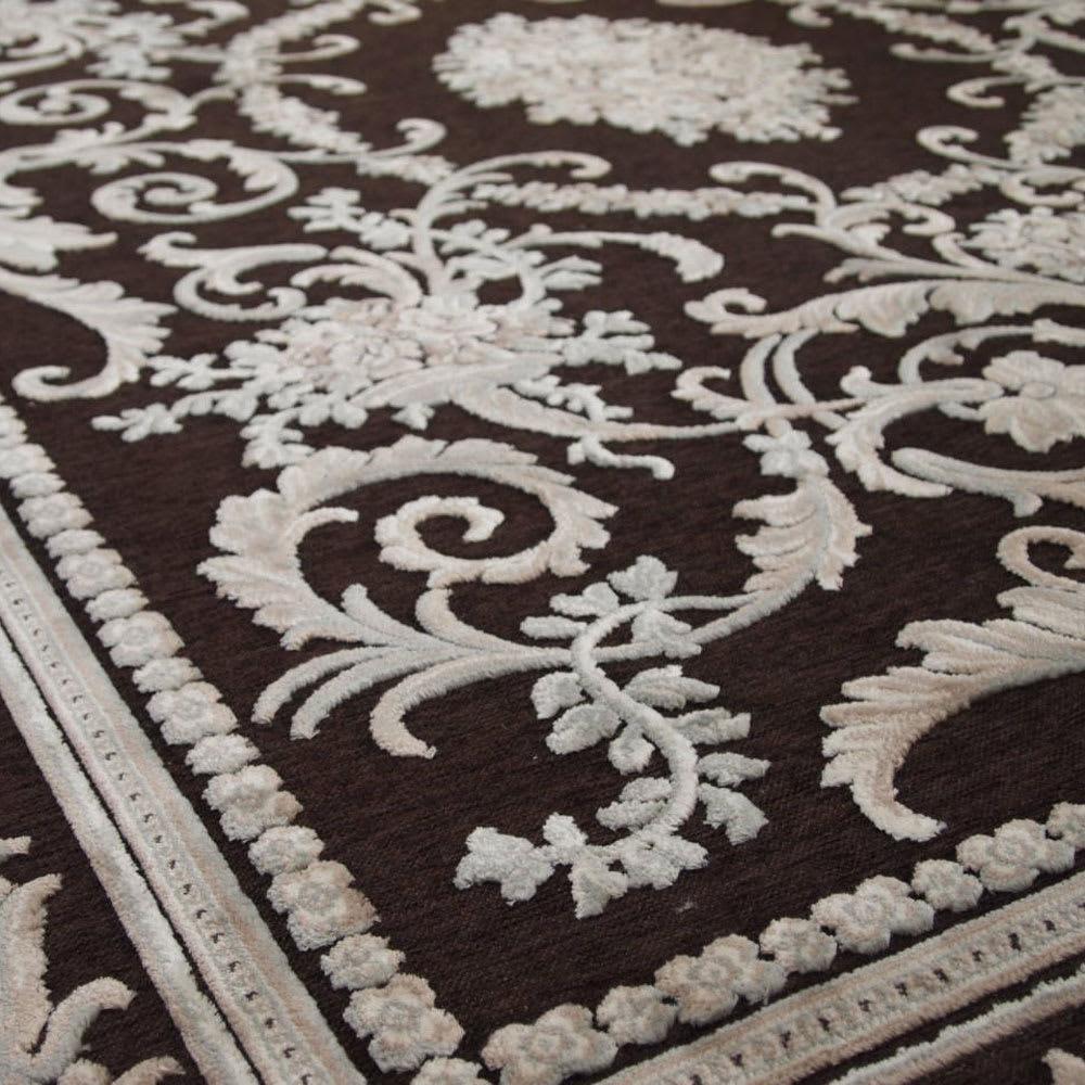 ベルギー製クラシック柄 モケット織りラグ【絨毯】 (イ)ダークブラウン系UP