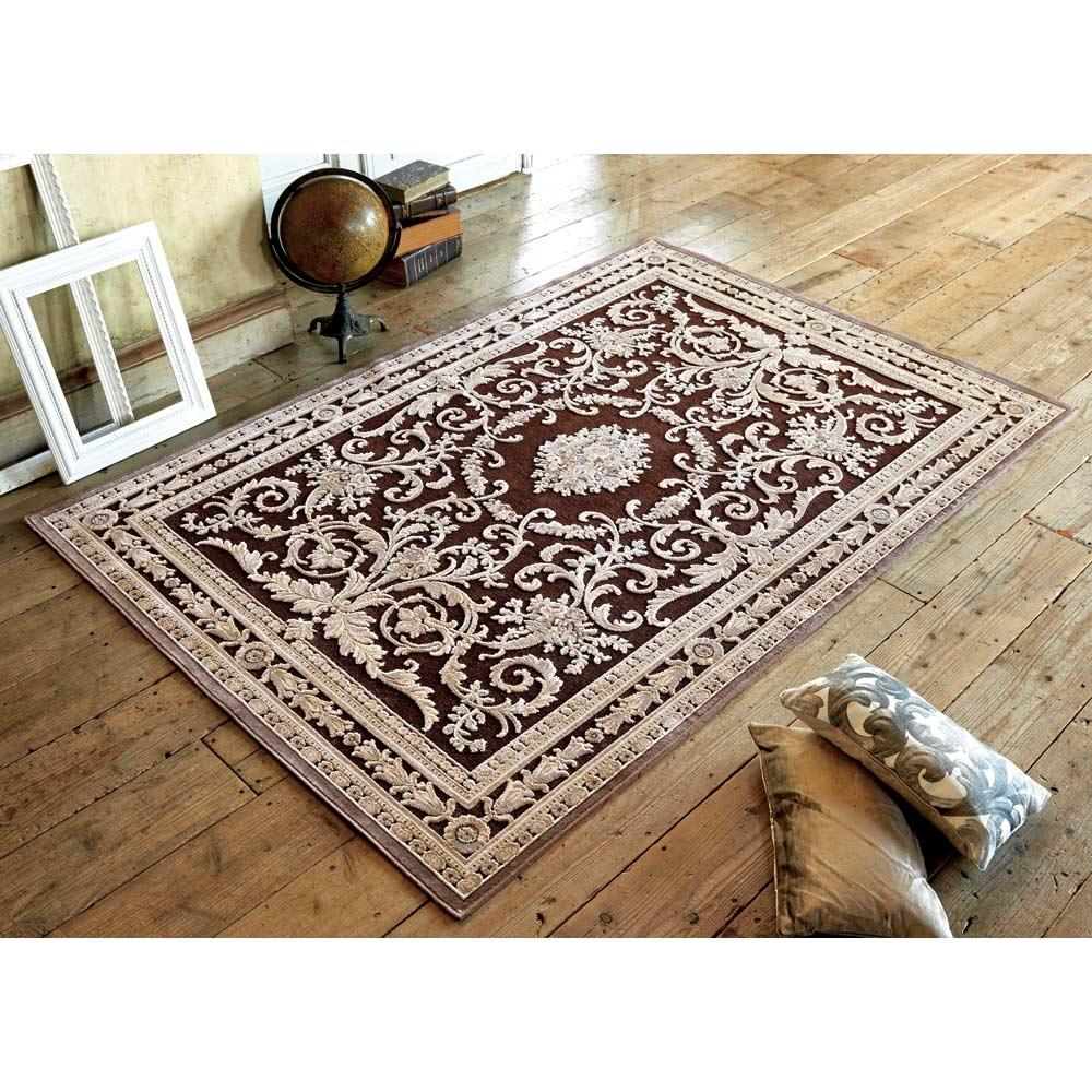 ベルギー製クラシック柄 モケット織りラグ【絨毯】 (イ)ダークブラウン系 ※写真は、155×230cmです。