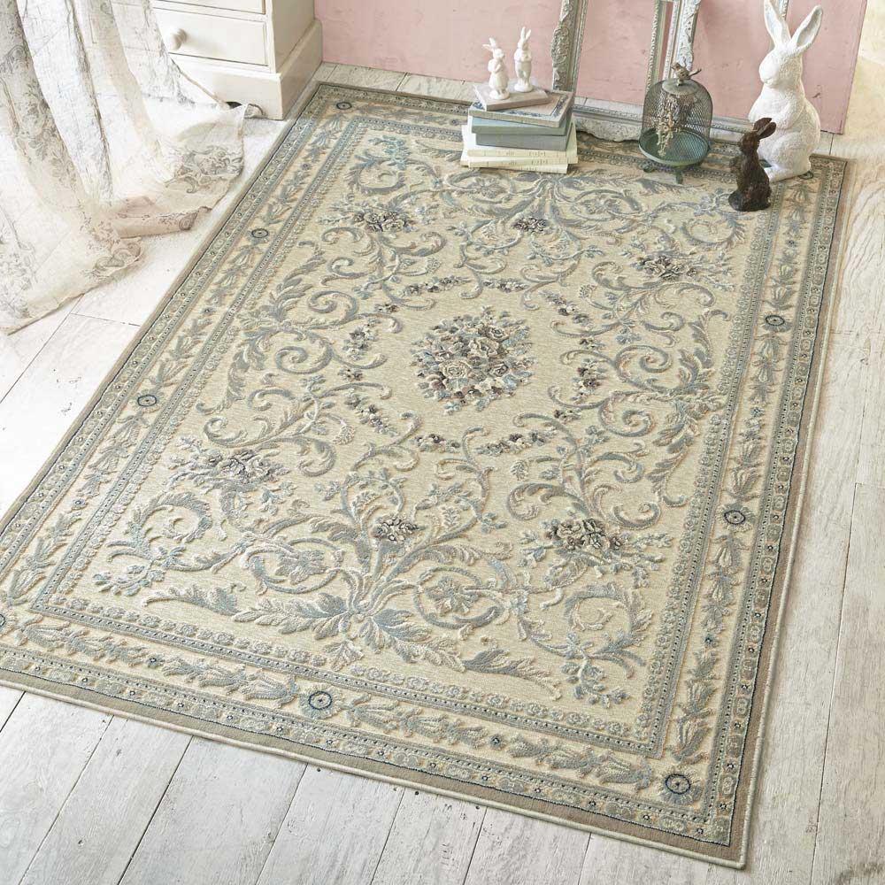 ベルギー製クラシック柄 モケット織りラグ【絨毯】 (ア)アイボリーベージュ系 ※写真は、130×195cmです。