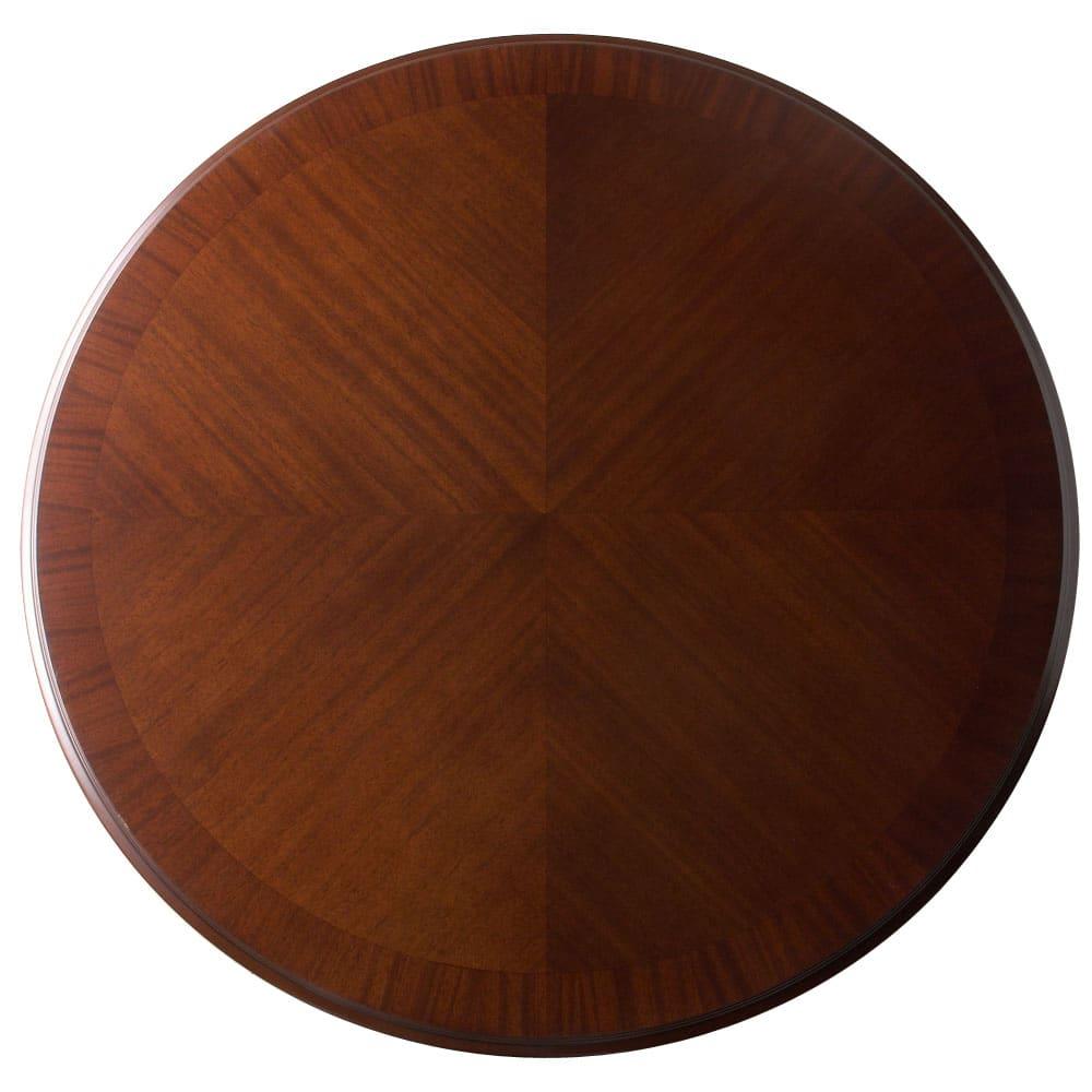 クラシカルロイヤル ケントハウスシリーズ ラウンドテーブル・幅110cm 天板は伝統の矢羽模様を施しました。