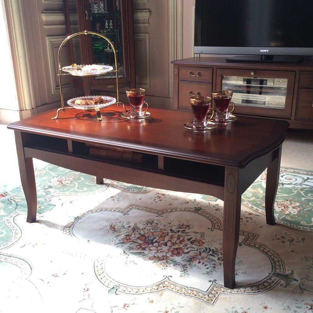 ベネチア調象がんシリーズ センターテーブル・幅95cm(引き出し無) 天板下はオープン収納。雑誌やリモコン収納に便利です。