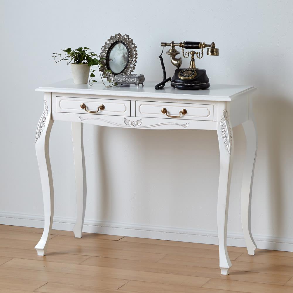 アンティーク調クラシック家具シリーズ コンソールデスク 電話台や花台としてもお使いいただけます。 (ア)ホワイト