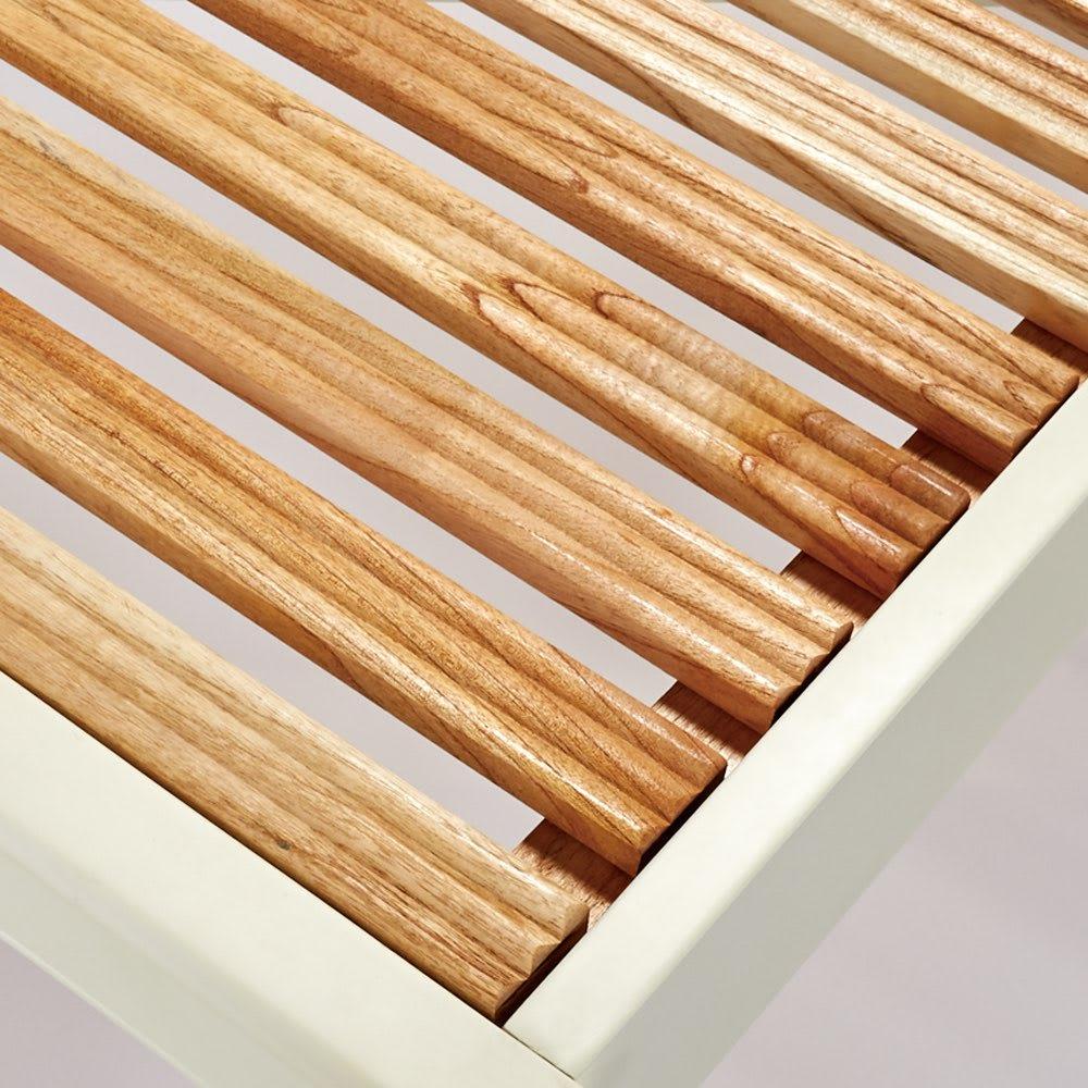 エレガントラインシリーズ ベッド(ベッドフレームのみ) ベッド床面は通気性が良く湿気がこもりにくいスノコ状。