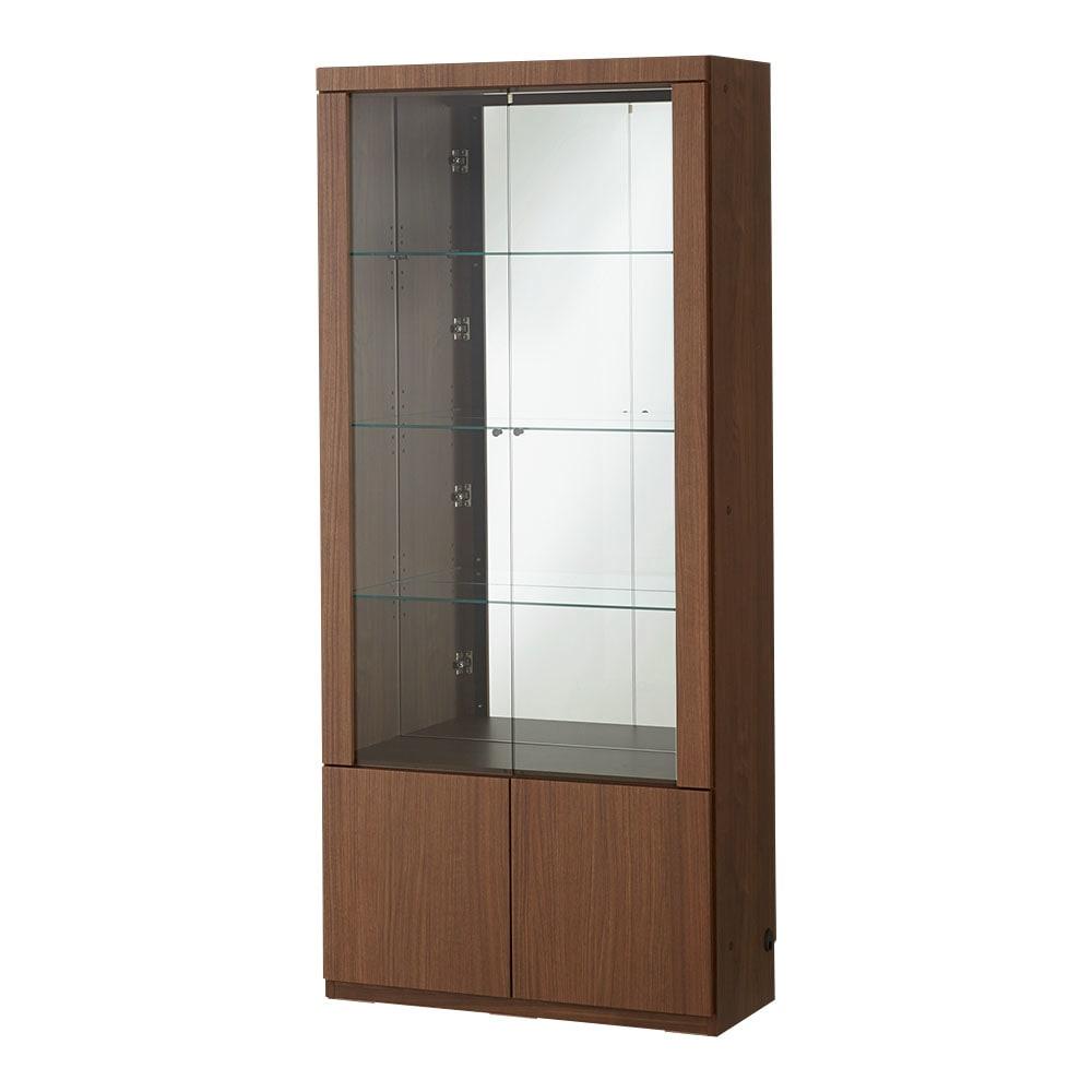 美しく飾れる 光沢仕上げ収納システム ガラス扉コレクションケース  幅60cm (イ)ウォルナット柄 ※写真は幅80cmタイプです。