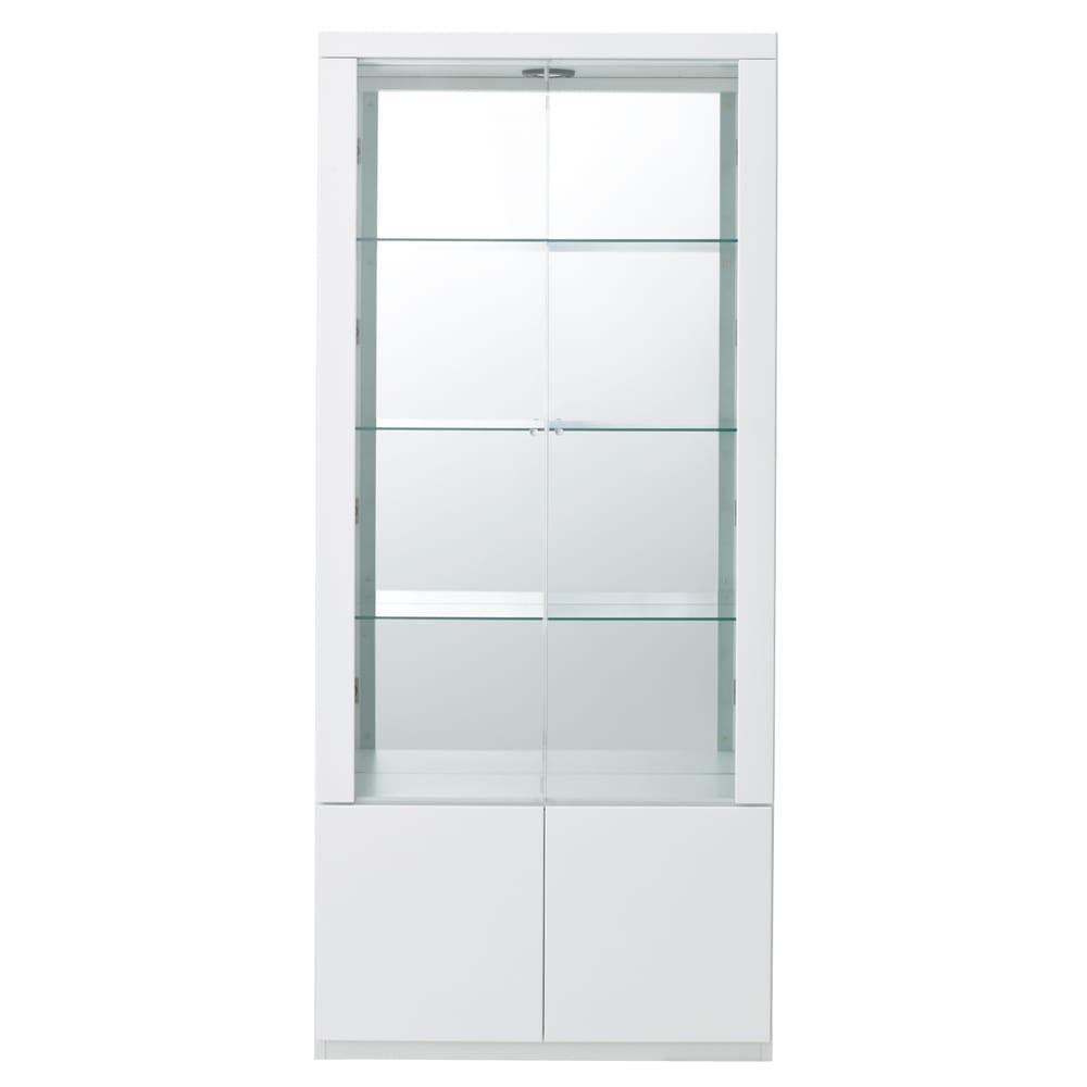 美しく飾れる 光沢仕上げ収納システム ガラス扉コレクションケース 幅80cm (ア)ホワイト ※お届けする商品です。