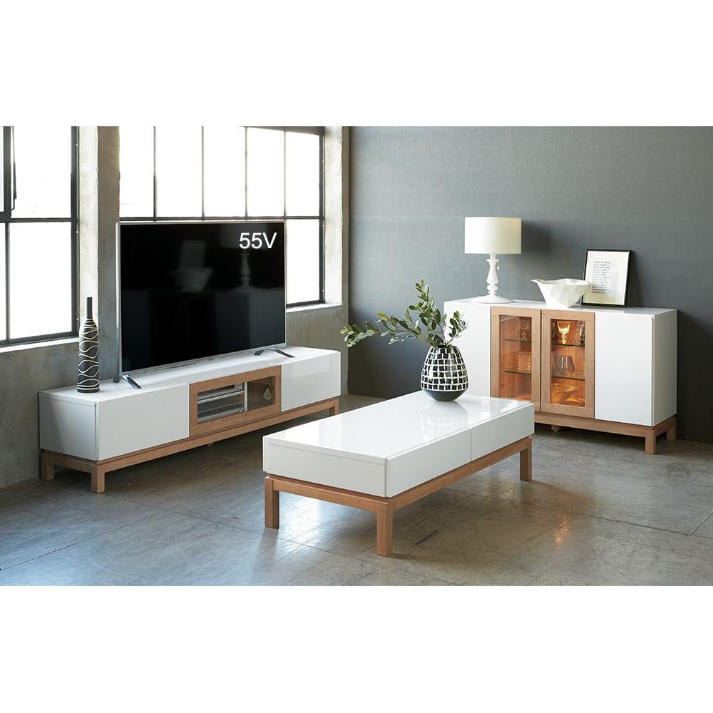 光沢が美しい 北欧風ナチュラルモダン リビング収納シリーズ テレビ台 幅150cm (ア)ホワイト 洗練されたリビングルームを演出します。