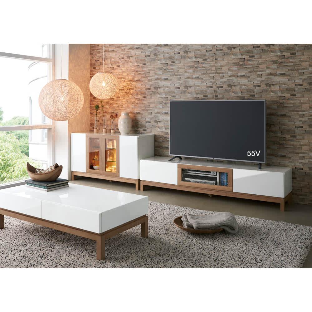 光沢が美しい 北欧風ナチュラルモダン リビング収納シリーズ テレビ台 幅150cm コーディネート例(ア)ホワイト