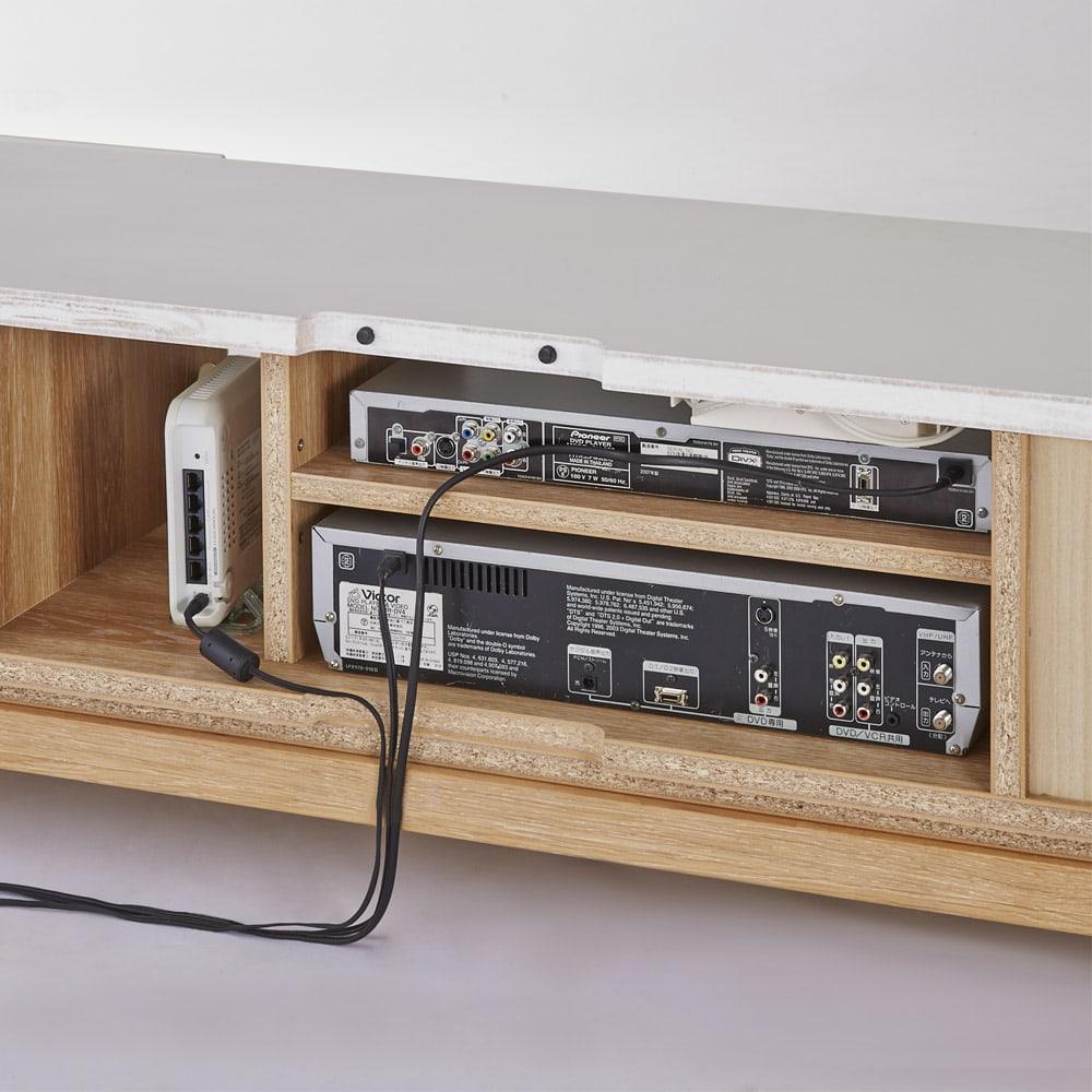 光沢が美しい 北欧風ナチュラルモダン リビング収納シリーズ テレビ台 幅150cm 背面はオープンなので、デッキの配線ラクラク