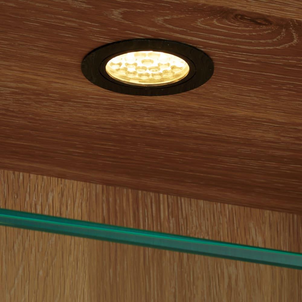光沢が美しい 北欧風ナチュラルモダン リビング収納シリーズ  サイドボード LEDライトなので省エネです。