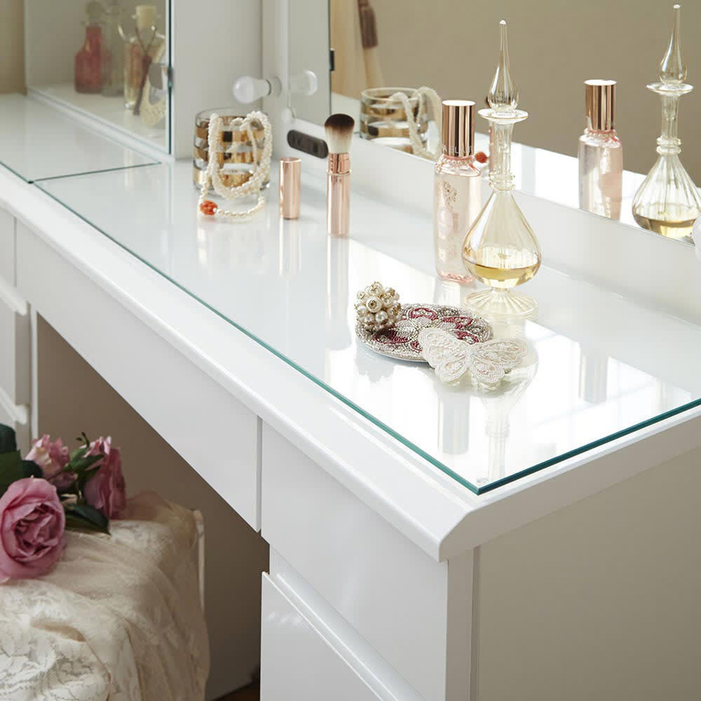 LEDライト付き 楽屋ドレッサーシリーズ ドレッサー 幅78.5cm 天板は美しいガラス天板です。