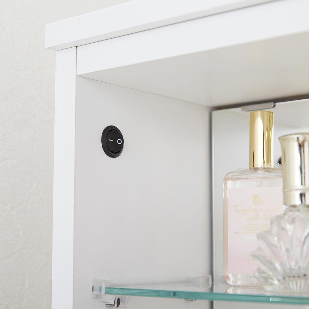 LEDライト付き 楽屋ドレッサーシリーズ ガラスキャビネット付き チェスト 幅60cm スイッチ式なので、ON/OFFも簡単。