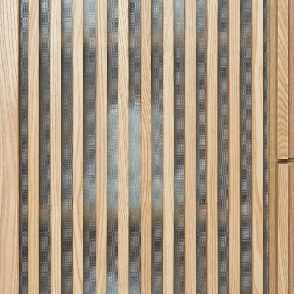 和モダン 格子 ダイニング シリーズ 食器棚 幅120奥行44cm 下扉は格子とミストガラスで、調理器具や食材ストックをすっきり目隠し。