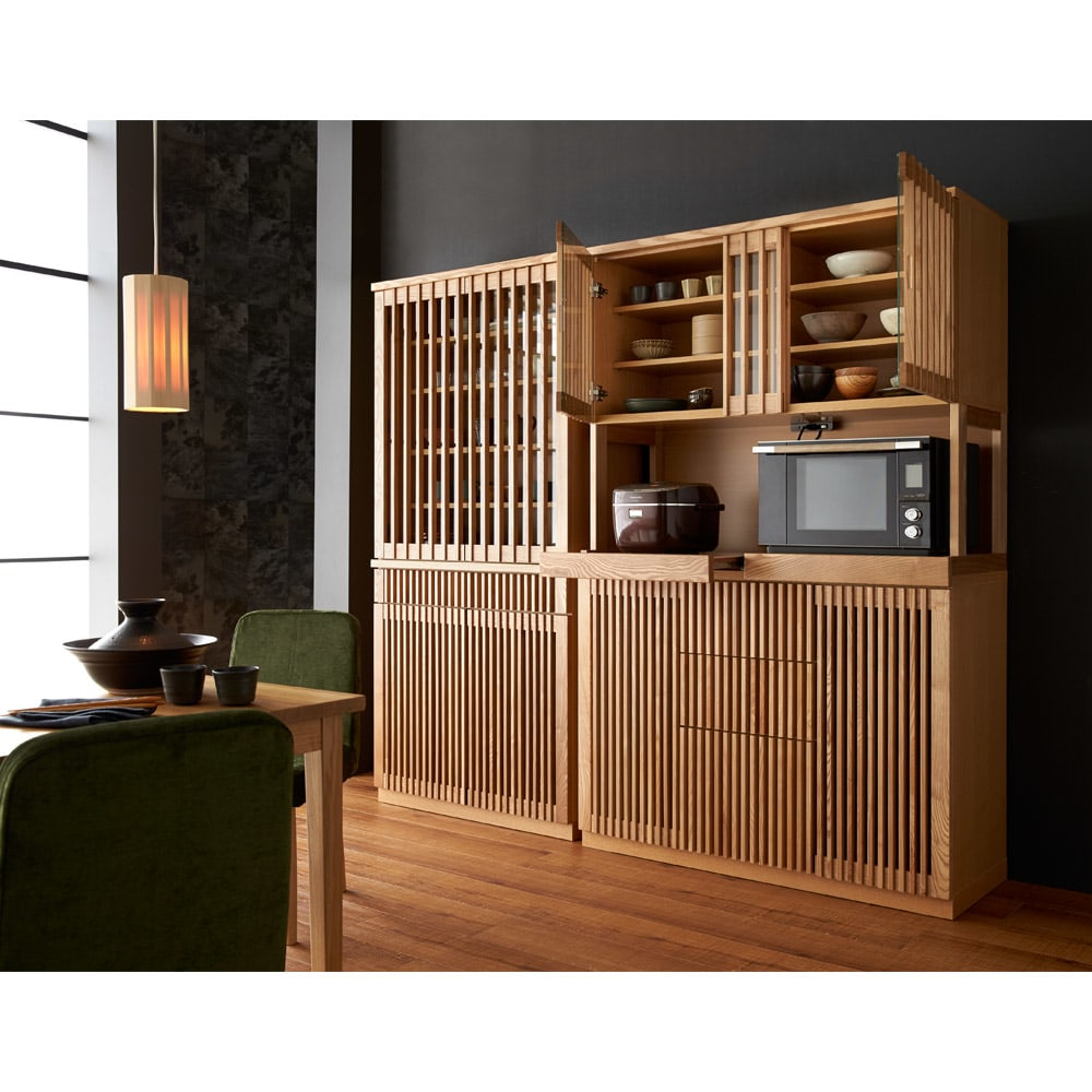 和モダン 格子 ダイニング シリーズ 食器棚 幅120奥行44cm シリーズ品と合わせてお使いいただくと、一層華やかで高級感のある空間に。 (ア)ナチュラル ※写真は幅90cmタイプ・食器収納庫です