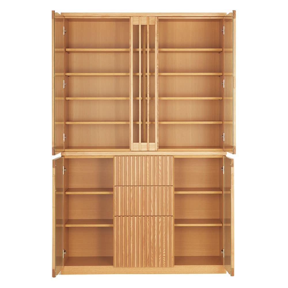 和モダン 格子 ダイニング シリーズ 食器棚 幅120奥行44cm (ア)ナチュラル