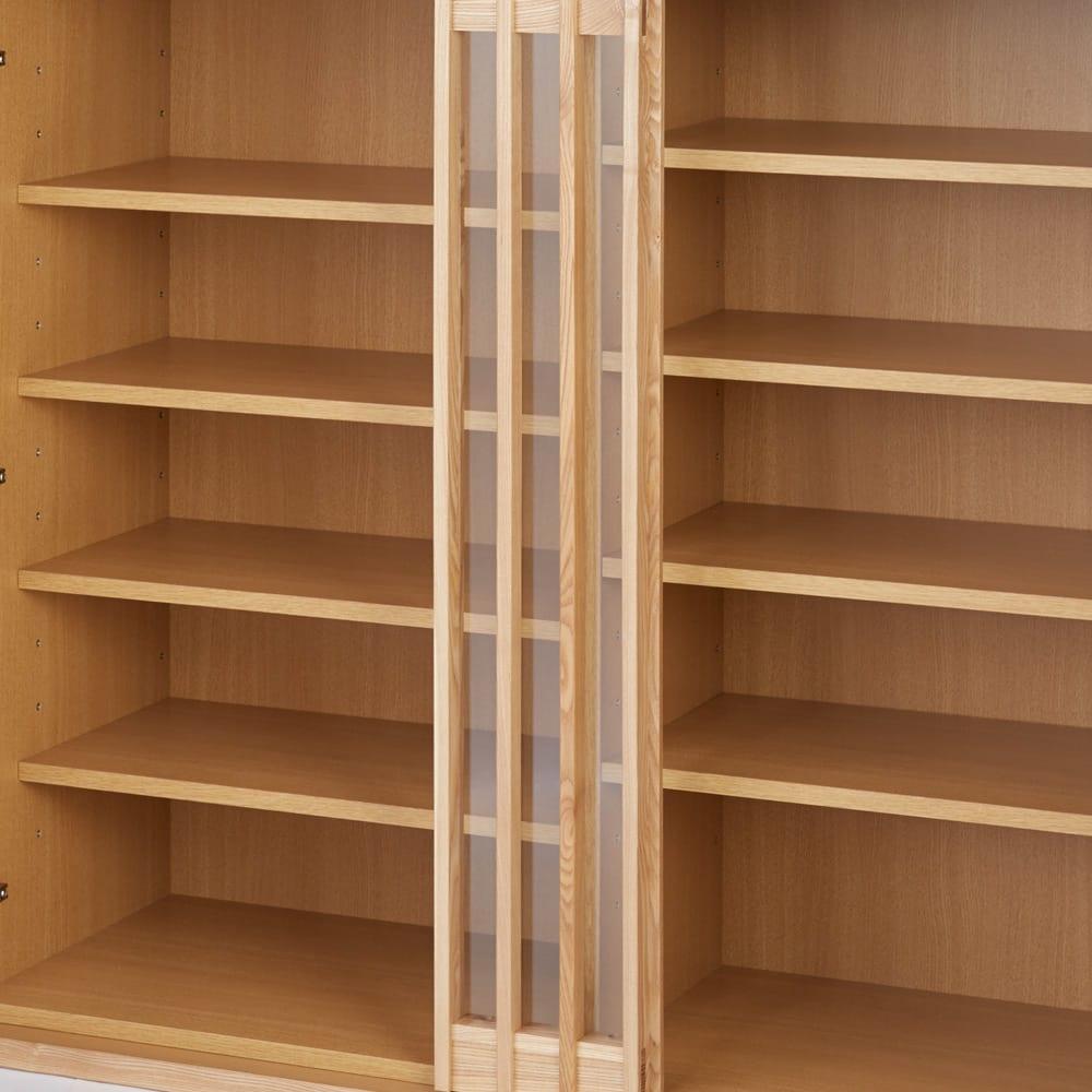 和モダン 格子 ダイニング シリーズ 家電収納庫 幅120奥行48cm 上段の収納部は格子のデザインを際立てる、飾りの前板が付いています。※写真は食器棚 幅120cmタイプです。