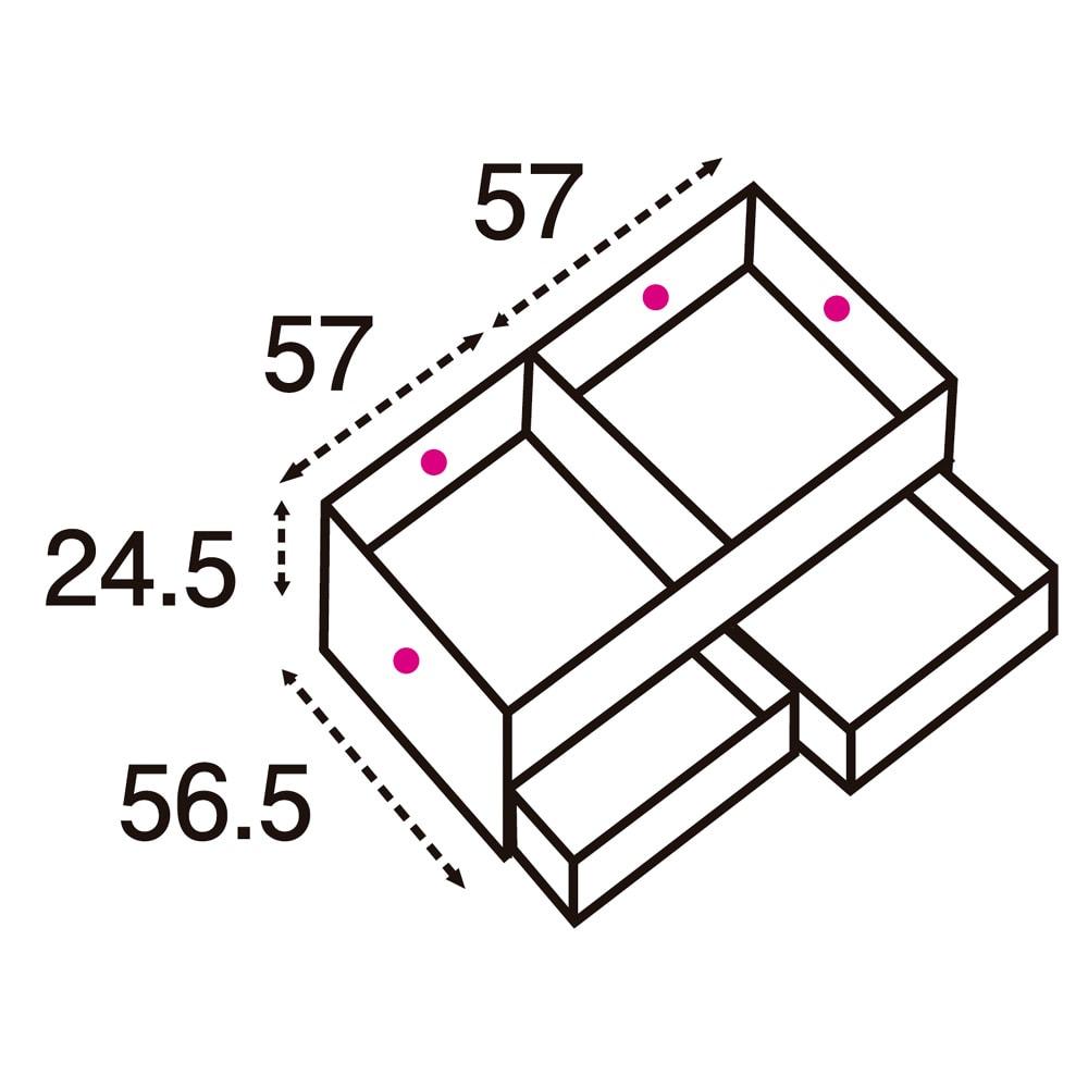 ユニット畳シリーズ 1畳引出し付き 高さ45cm (単位:cm) 点線は有効内寸です。 引き出し有効内寸:幅54.5奥行42.5高さ12.5×2杯