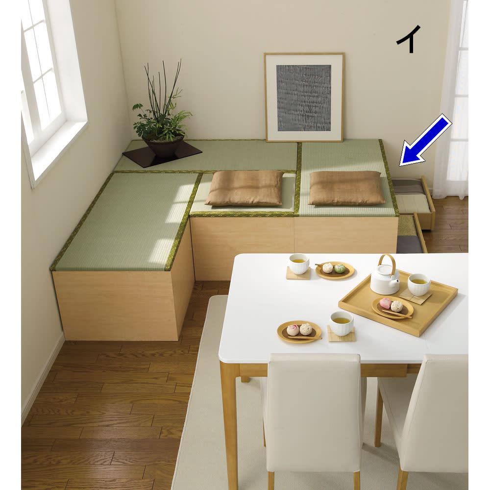 ユニット畳シリーズ 1畳引出し付き 高さ45cm リビングダイニングに気軽に和の空間を演出できます。 【3.5畳の組み合わせ…半畳・1畳×3】