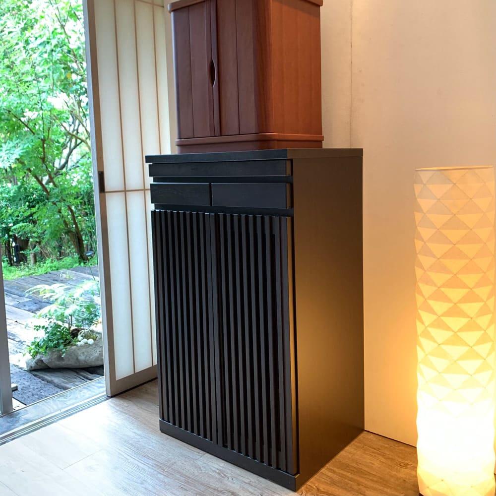 格子天然木仏壇キャビネット 高さ101cm (ア)ブラウン ※お仏壇は商品に含まれません。