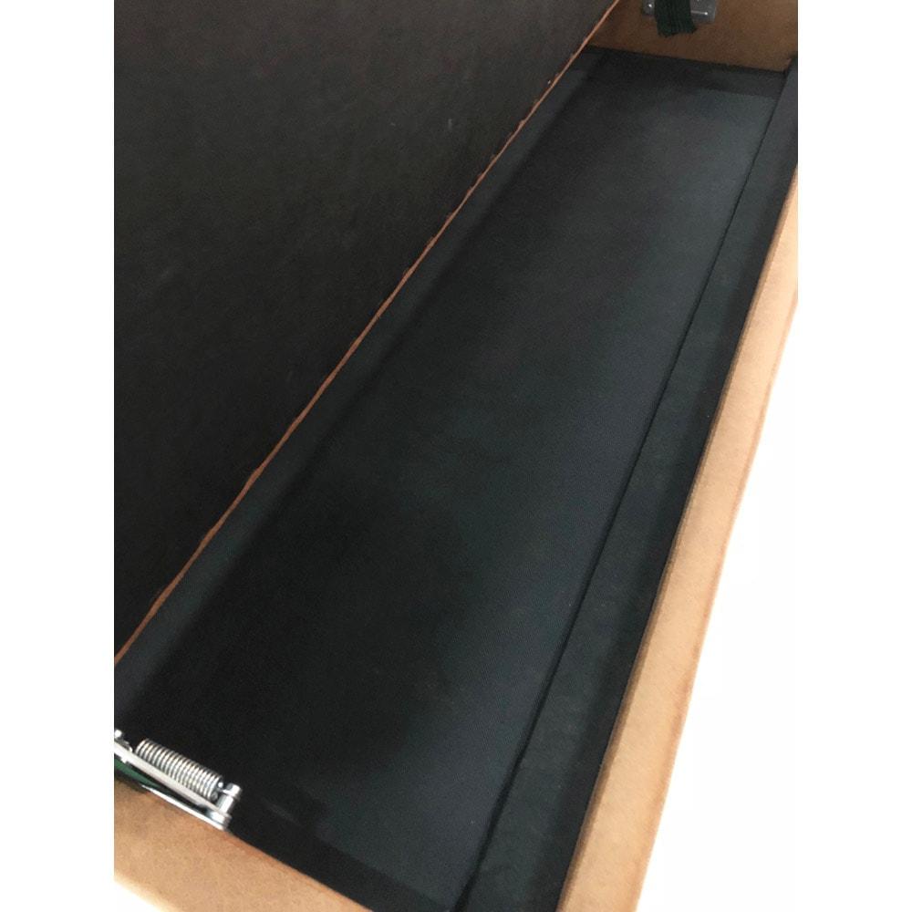 省スペース収納庫付きソファダイニング3点セット(棚付きテーブル+左カウチソファ+収納庫付き2人掛けソファ) ベンチの座面下には便利な収納庫付き。有効内寸:幅112・奥行32・高さ8.5cm