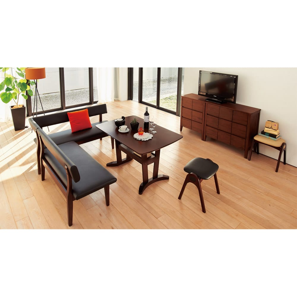 コンパクトLDラウンジダイニング 棚付きテーブル・幅115cm シリーズ組み合わせ例。 ※写真は3点セット右カウチ
