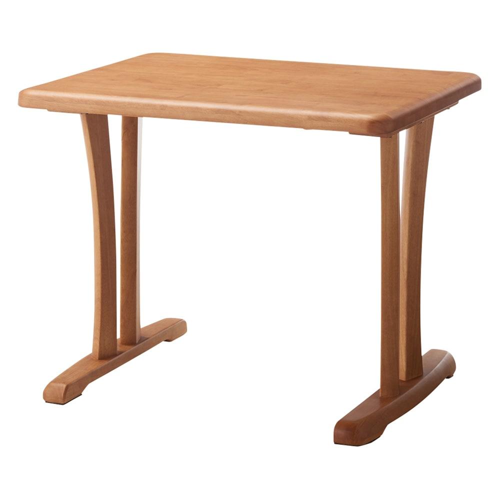 角が丸くて優しい天然木ダイニング テーブル 2本脚 幅90奥行75cm (ア)ナチュラル