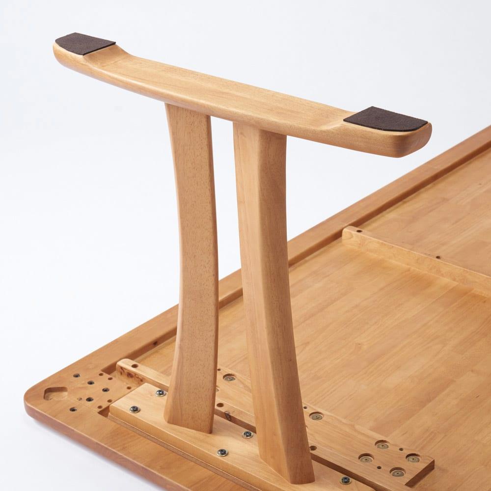 角が丸くて優しい天然木ダイニング テーブル 2本脚 幅140奥行80cm 脚部裏UP