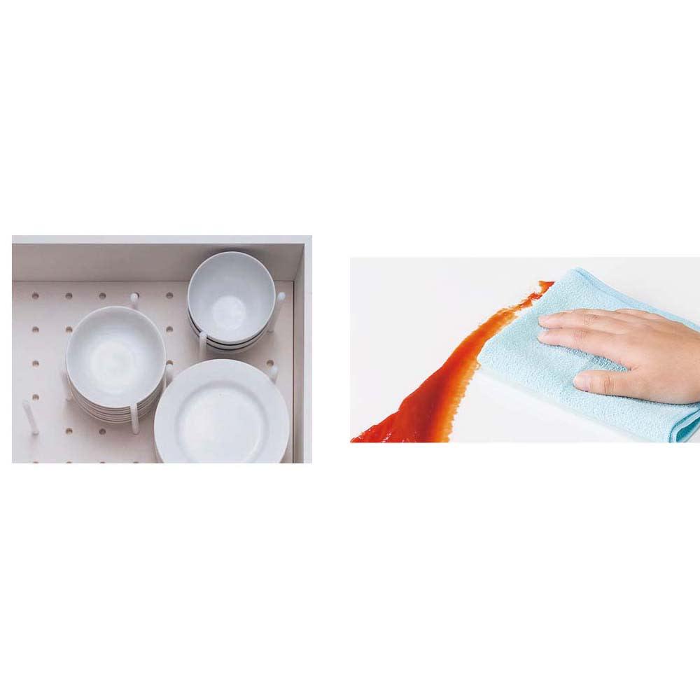 家電が使いやすいハイカウンター奥行45cm キッチンカウンター高さ101cm幅160cm/パモウナVQL-S1600R 下台 VQR-S1600R 下台 カウンター天板はキズ、汚れに強いダイヤモンドハイグロス。お手入れが楽で長く美しさをキープ。