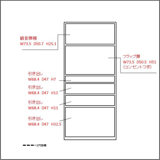 大型レンジがスッキリ隠せるダイニングボードシリーズ 引き出しタイプ・幅77.5cm 内寸図(単位:cm)