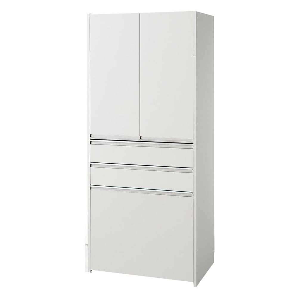 大型レンジがスッキリ隠せるダイニングボードシリーズ ダスト食器棚・幅57.5cm (イ)ホワイト ※写真はダスト食器棚・幅77.5cmです。