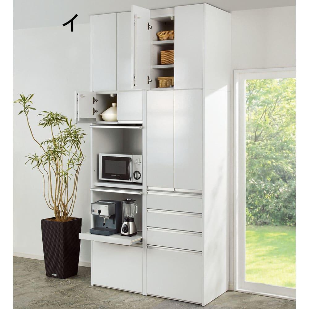 大型レンジがスッキリ隠せるダイニングボードシリーズ 食器棚・幅77.5cm (イ)ホワイト色見本 ※写真は天井高さ249cmで撮影。