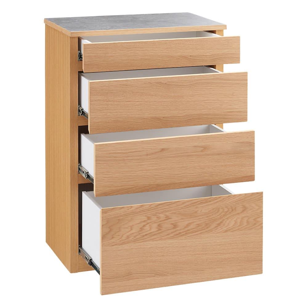 組み合わせ自由な大理石調天板キッチンカウンター オーク 幅60cmチェスト 幅60 チェスト オーク
