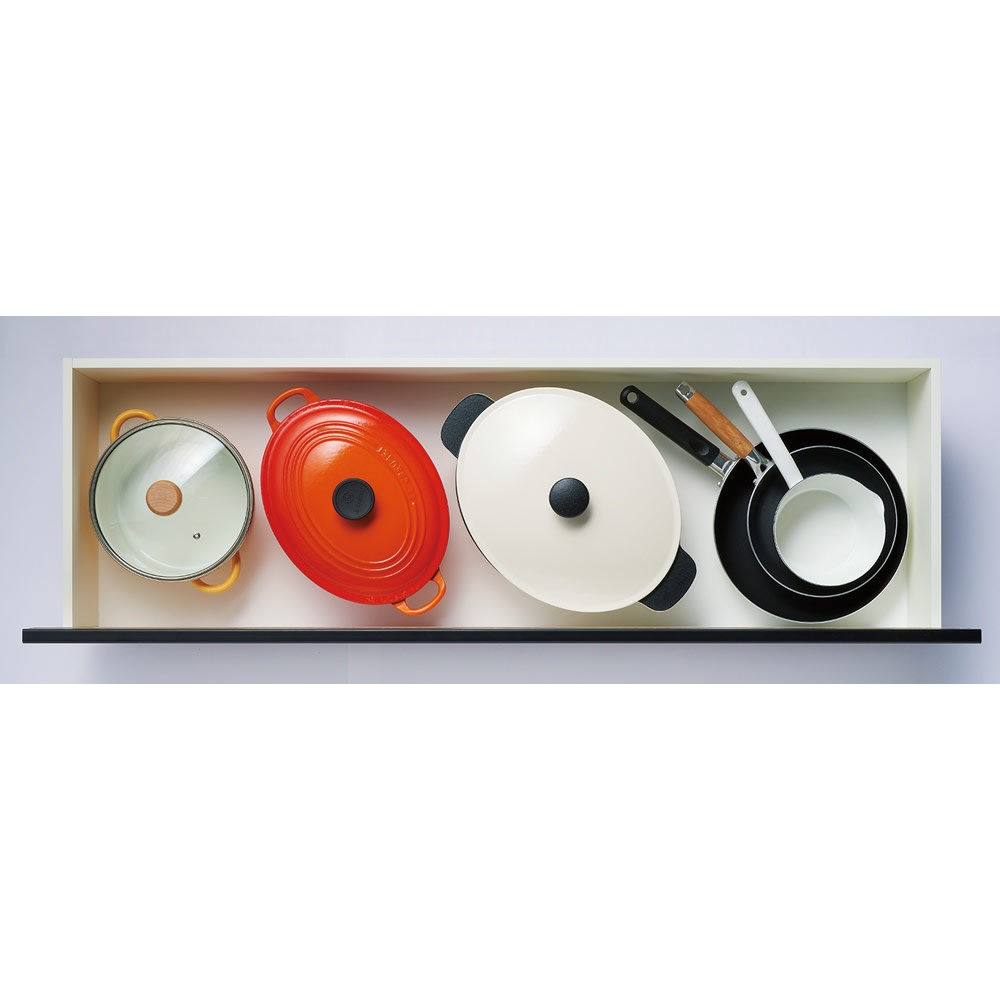 整理整頓しやすい!ステンレス天板スマートカウンター 幅120.5cm 【4段目】鍋やフライパン、大皿や食品ストックなど。引き出し内寸=幅111奥行33.5高さ15cm