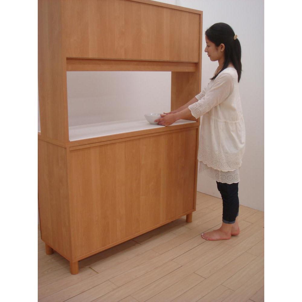 アルダー天然木アールデザインシリーズ キッチンボード 幅120cm 背面は化粧仕上げ(一部タッカーが見えます。)  ほこりなども拭き取りやすい。