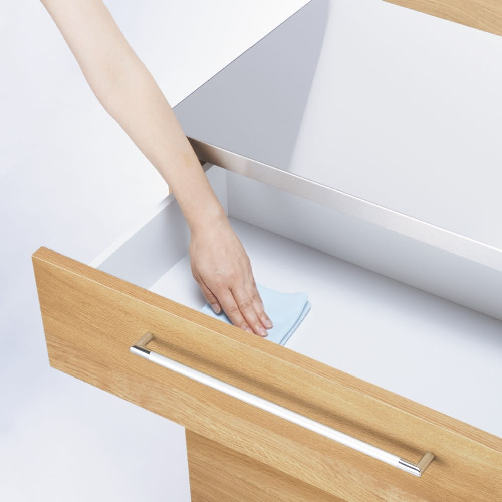 手元が隠せる間仕切りカウンター 幅120cm 引き出し内部も美しくお手入れしやすい化粧仕上げ。