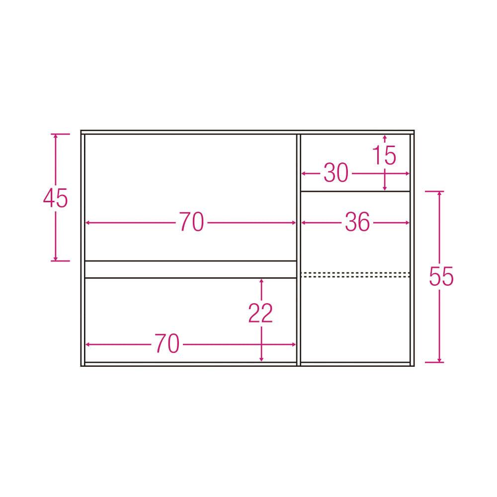サイズが選べる家電収納キッチンカウンター ロータイプ 幅120cm 内寸図(単位:cm)
