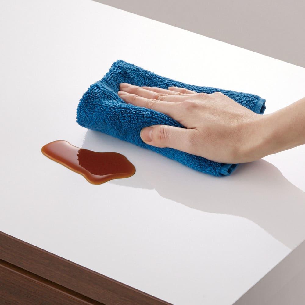 サイズが選べる家電収納キッチンカウンター ロータイプ 幅120cm 光沢のある天板で、汚れもサッと一拭き。