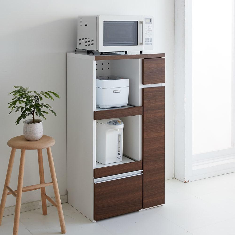 サイズが選べる家電収納キッチンカウンター ハイタイプ 幅90cm 《色見本》(ウ)ダークブラウン ※写真は幅60cmタイプ