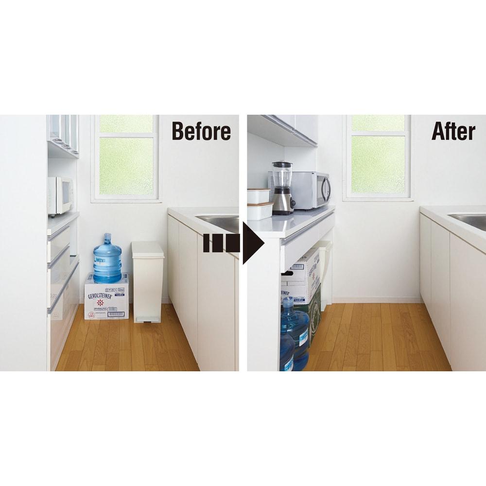 キッチン通路をキレイにする!下オープンダイニングシリーズ レンジボード・幅120cm高さ175cm 【狭小キッチンにもおすすめの下オープンタイプ】   ボードに入りきらない大きな物で、ごちゃつきがちなキッチン通路がすっきり!キッチンに安心感と清潔感が生まれます。
