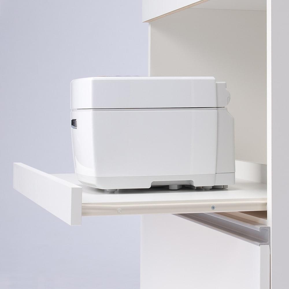 大型レンジが置ける家電収納庫 2段レンジラック・幅60cm 蒸気の出る家電に配慮したスライドテーブル付き。