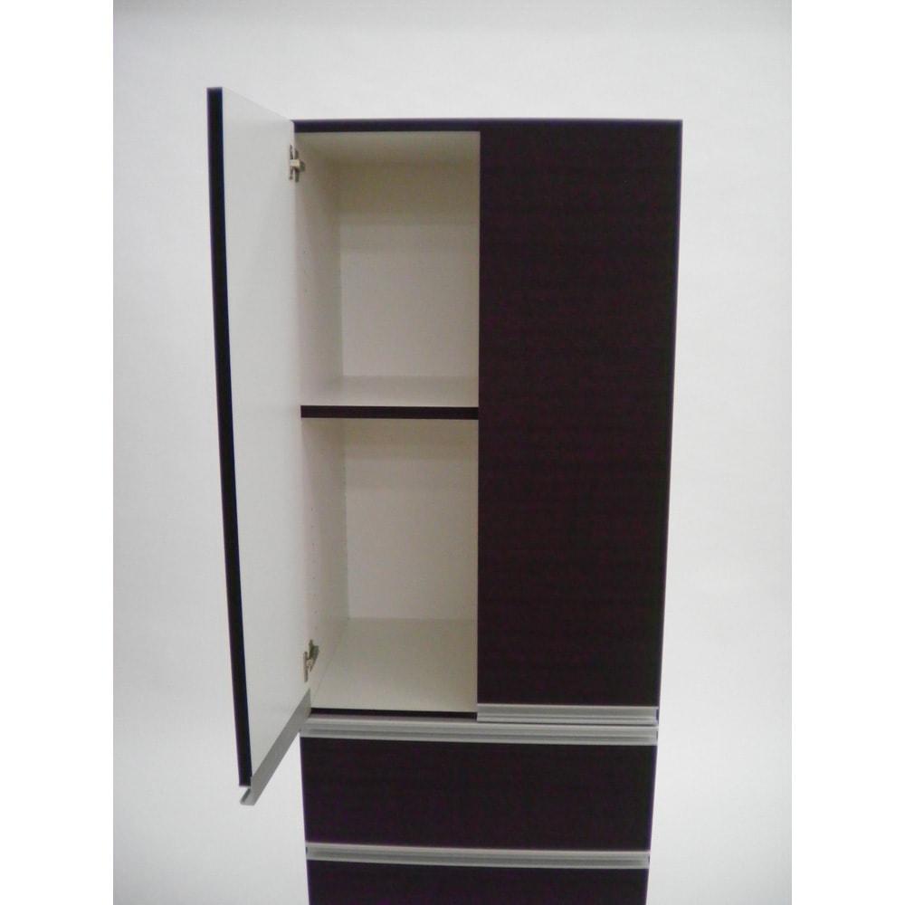 組立不要!家電を隠せるキッチン収納シリーズ 食器棚幅59.5cm 扉内内寸:幅55.5奥行41.5高さ(固定棚より)上=40.5 下50.5 ※可動棚は(上)3cm間隔調節 3段 /(下)9段の調節が可能です。